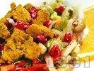 Рецепта Задушени хапки свинско месо от плешка със зеленчуци (чушки, моркови, гъби, праз лук) и куркума на тиган